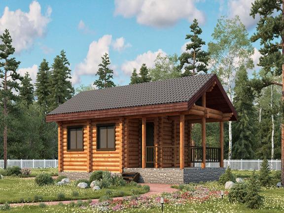 Проект деревянного дома «Баня №12» 54м2 - АЛМА WoodWork