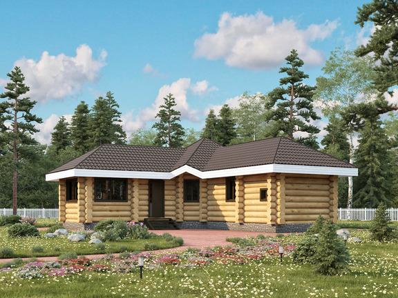 Проект деревянного дома «Баня №13» 76м2 - АЛМА WoodWork
