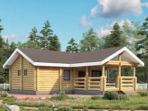 Проект деревянного дома «Баня №14» 84м2 - АЛМА WoodWork