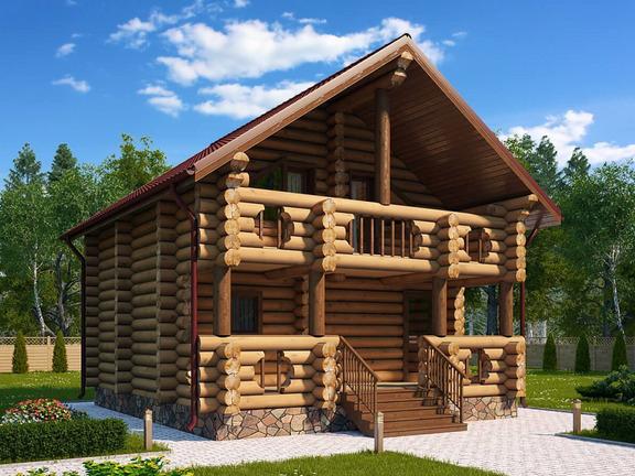 Проект деревянного дома «Дом-баня №1» 101.9м2 - АЛМА WoodWork
