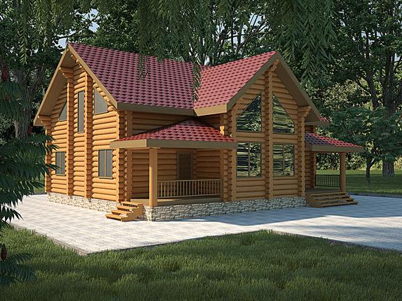 Проект деревянного дома «Дом №26» 315м2 - АЛМА WoodWork