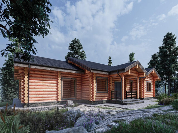 Проект деревянного дома «Дом №27» 345м2 - АЛМА WoodWork