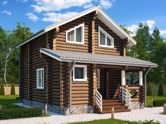 Проект деревянного дома «Дом-баня №2» 84м2 - АЛМА WoodWork